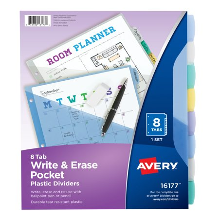 Avery Write & Erase Durable Plastic Dividers with Pockets, 8-Tab Set, - Business Plastic Index Dividers