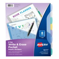 Avery Write & Erase Durable Plastic Dividers with Pockets, 8-Tab Set, Multicolor