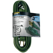 Powerzone OR780615 Extension Cord, 16 AWG, Green Jacket, 15 ft L