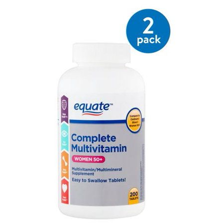 (2 Pack) Equate complete multivitamin women 50+ multivitamin/multimineral supplement, 200 - Advantage Complete Multivitamin