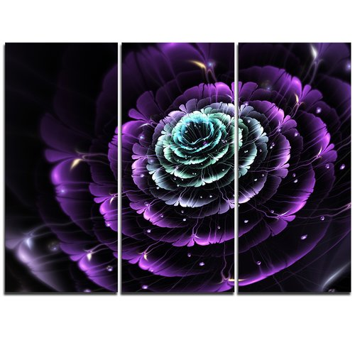 Design Art Purple Blue Fractal Flower Digital Art - 3 Piece Graphic Art on Wrapped Canvas Set
