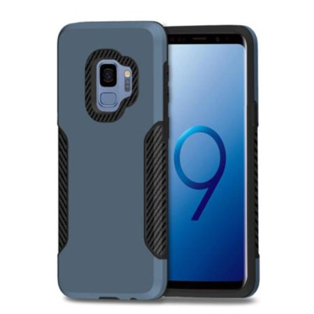 Metallic Silver Aluminum Case (For Samsung Galaxy S9 Case, Dual Layer Metallic Shock Proof Protection Cover Case with Carbon Fiber Design)