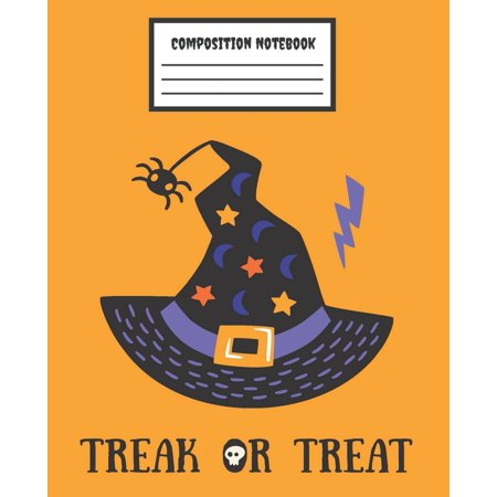 Halloween Treat For Work (Composition Notebook Trick or Treat : ็็Halloween Witch Hats - Wide Ruled Blank Lined School Subject Composition Notebook for girls, women, teachers, kids, teens, students, home, college writing & notes,)