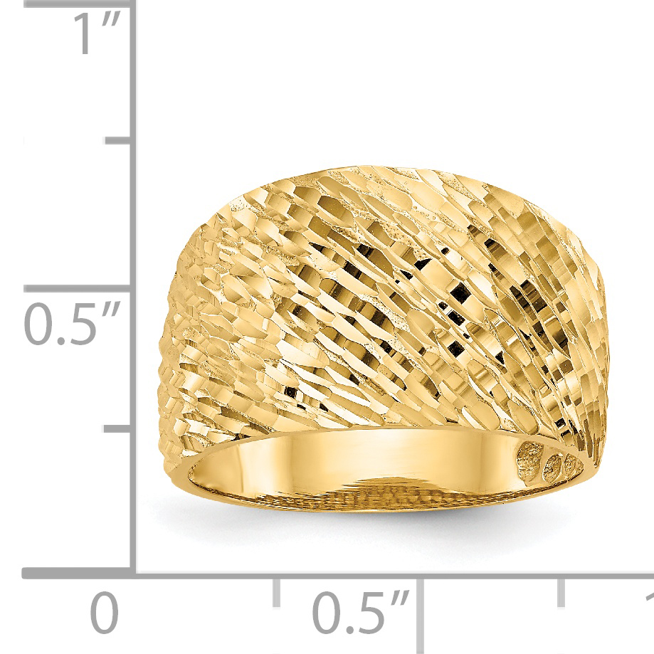 14k Yellow Gold Textured Dome Band Ring Size 7.00 Fine Jewelry Gifts For Women For Her - image 2 de 5