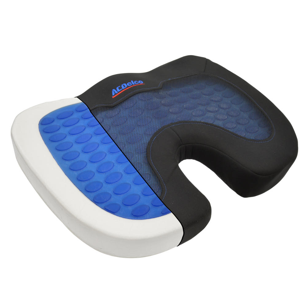 ACDelco Cool-Therapy Orthopedic Cooling Gel Seat Cushion - Premium Memory Foam - Stress Relief for Back Pain Pillow (Coccyx Cushion)