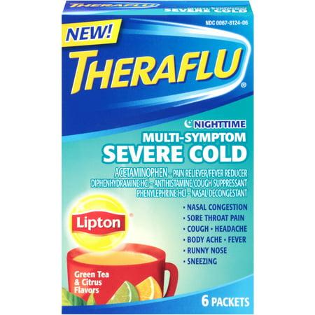 Theraflu Rhume et grippe secours Nighttime Multi-Symptom sévère à froid avec Lipton Saveurs, liquide chaud en poudre, thé vert et Saveurs d'agrumes 6 Packets