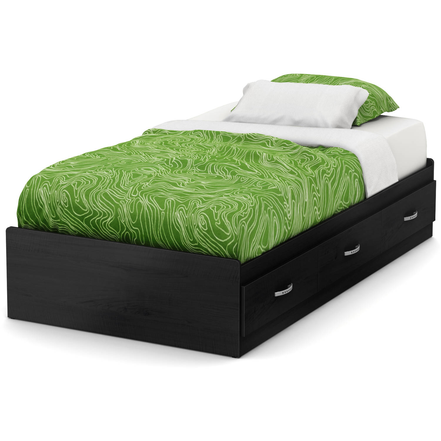 South Shore Lazer Twin Storage Bed (39'') with 3 Drawers, Black Onyx