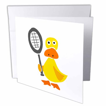 3dRose Funny Yellow Duck Holding Tennis Racquet Primitive Art, Greeting Cards, 6 x 6 inches, set of (Tennis Card Set)