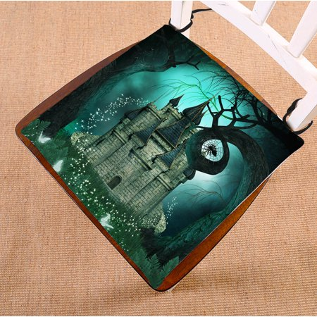 YKCG Magic Fantasy Castle Halloween Night Mystic trees Seat Cushion Chair Cushion Floor Cushion Twin Sides 16x16 inches - Halloween Magic Castle