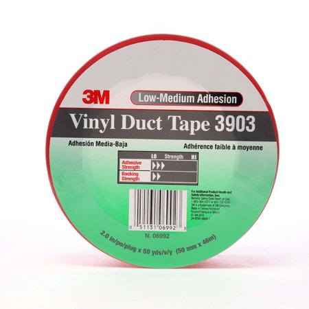 3M Vinyl Duct Tape 3903 Red, 2 in x 50 yd 6.5 mil, 24 per case Individually Wrapped 3903 Vinyl Duct Tape