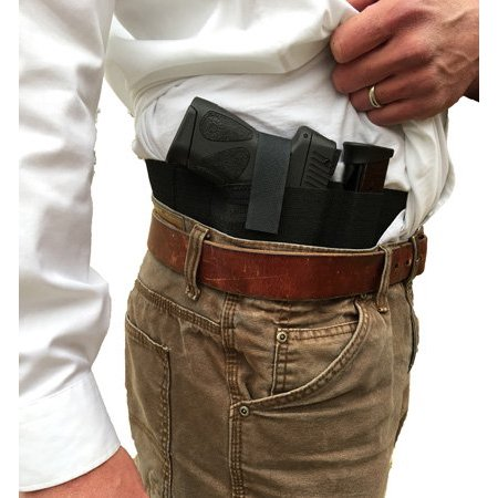 Side Draw Belly Band Gun Holster for Left or Right Hand Draw Concealed Carry (Small:White)