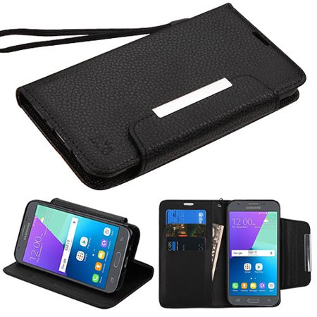 SAMSUNG GALAXY J3 Emerge, J3 (2017) J327P, Express Prime 2, Amp Prime 2, J3 Prime, Sol 2 Phone Case Leather Flip Wallet Cover Stand Pouch Fold Folio with Credit Card /Cash Slots, Strap Lanyard - Black