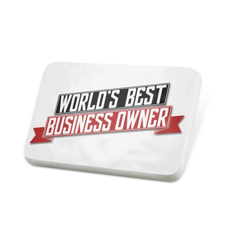 Porcelein Pin Worlds Best Business Owner Lapel Badge – (Best Phones For Business Owners)