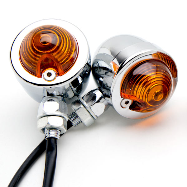 Krator Motorcycle 2 pcs Chrome Amber Turn Signals Lights For Harley Davidson Softail Heritage Classic