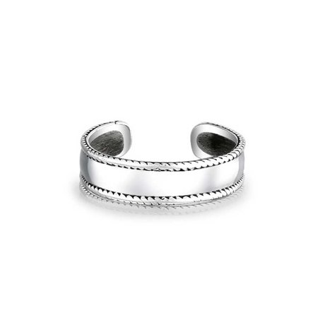 Braided Edge Bali Style Midi Toe Ring For Women For Teen Plain Wide Band 925 Silver Sterling Adjustable Mid Finger - image 4 de 4