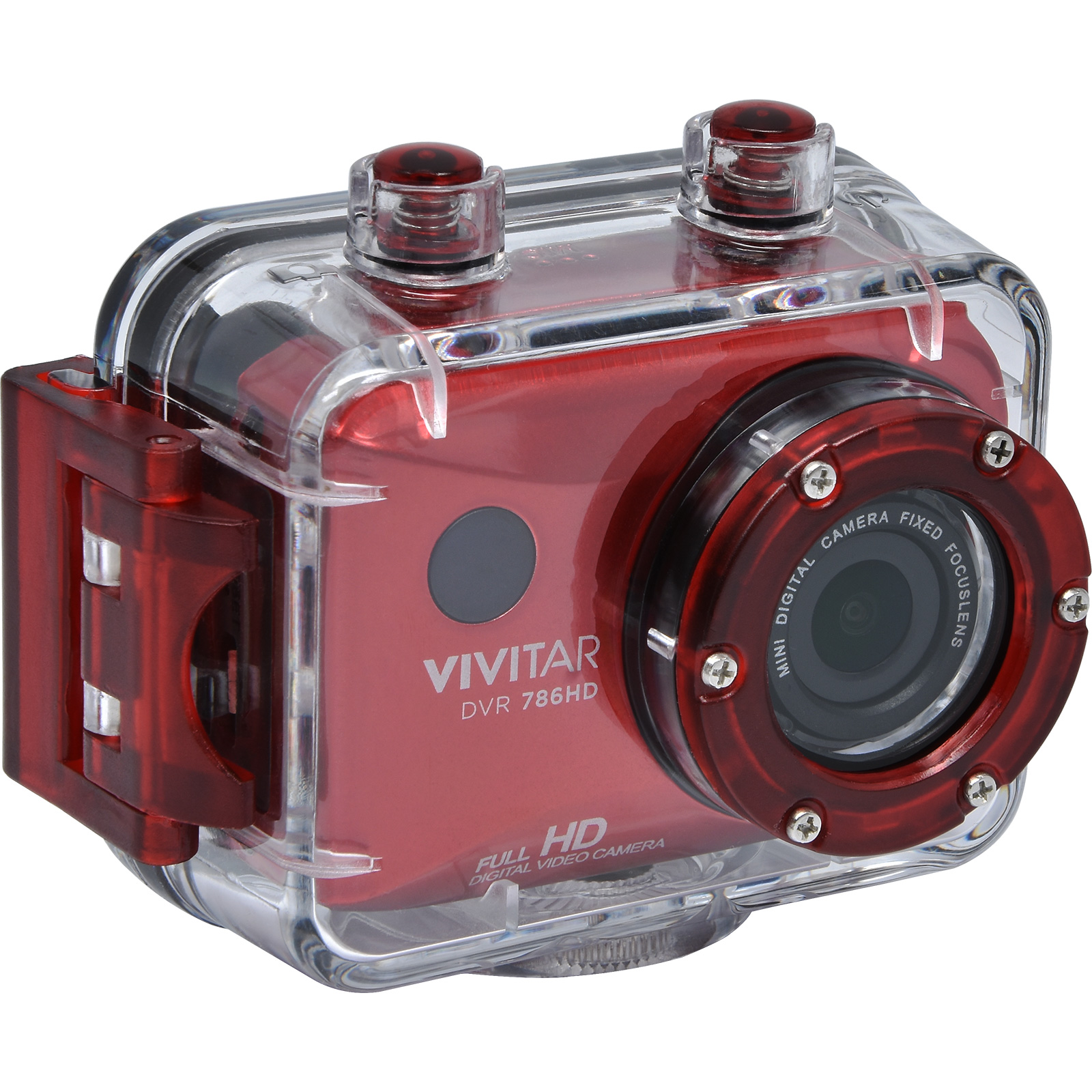 Vivitar DVR786HD 1080p HD Waterproof Action Video Camera Camcorder (Red) with Remote, Helmet & Bike Mounts