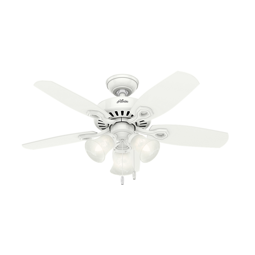 """Hunter 42"""" Builder Small Room Snow White Ceiling Fan with Light by Hunter Fan Co"""