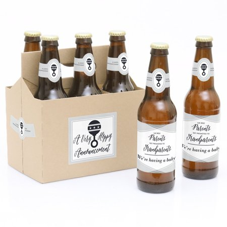 Parents to Grandparents - Pregnancy Announcement Party Decorations for Women and Men - 6 Beer Bottle Label Stickers and](Beer Themed Party Decorations)