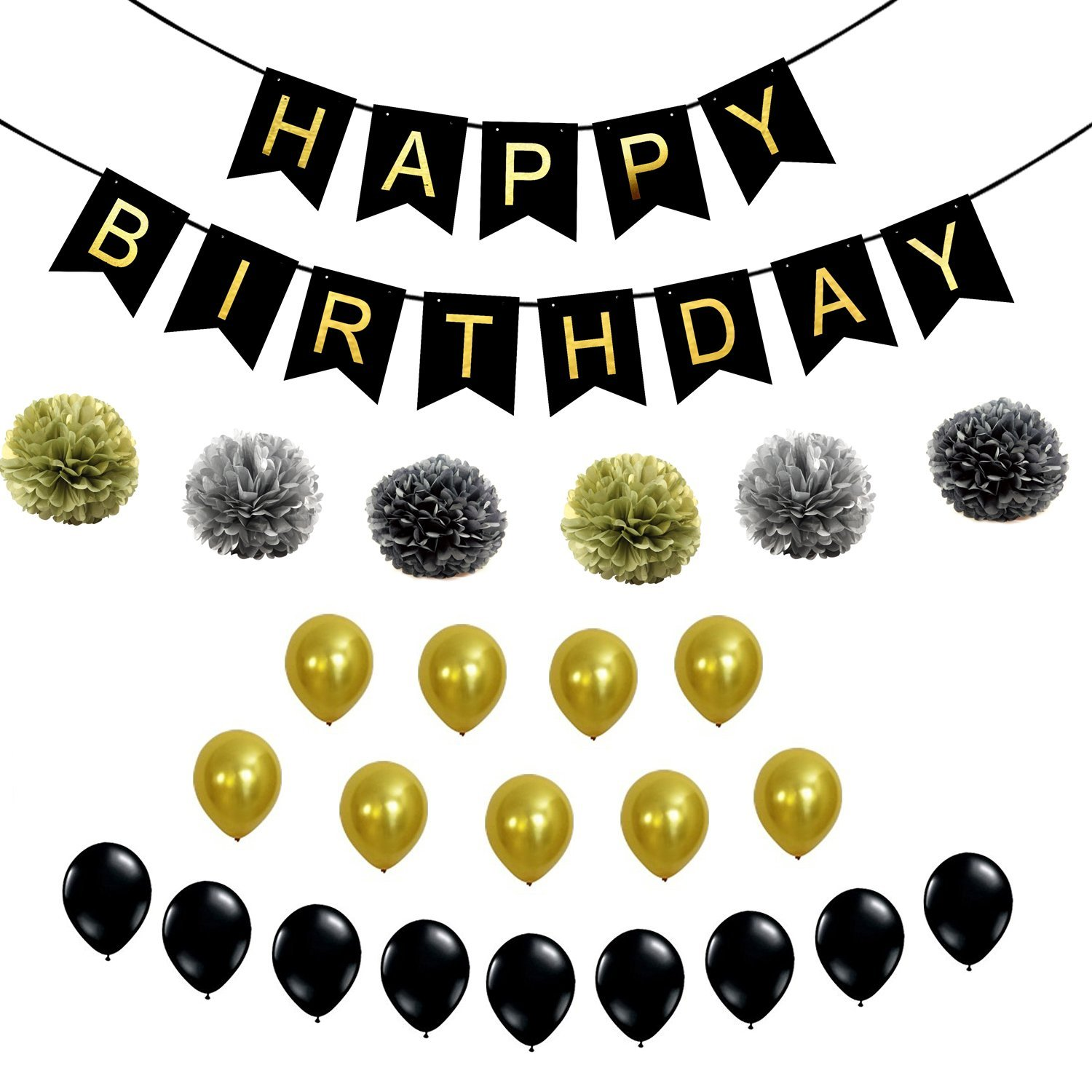 Black And Gold Happy Birthday Decoration Banner Set Best Fluffy Pom Poms With Ballons Party Supplies For 21st 30th 40th 50th Any Bday Boy Girl Theme