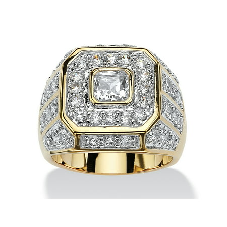 Men's 2.33 TCW Square-Cut and Round Cubic Zirconia Octagon Grid Ring 14k Gold-Plated