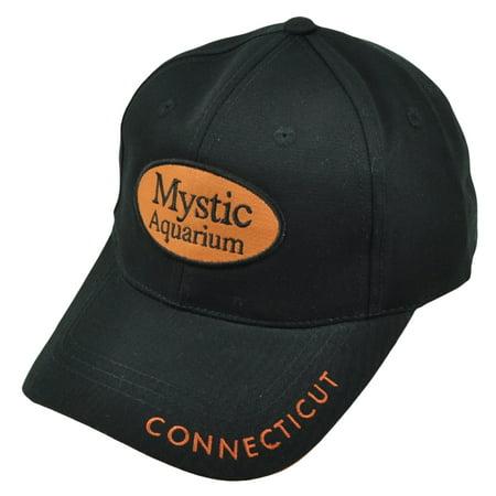 Connecticut Mystic Aquarium Est 1973 Black Orange Hat Cap State City Adjustable