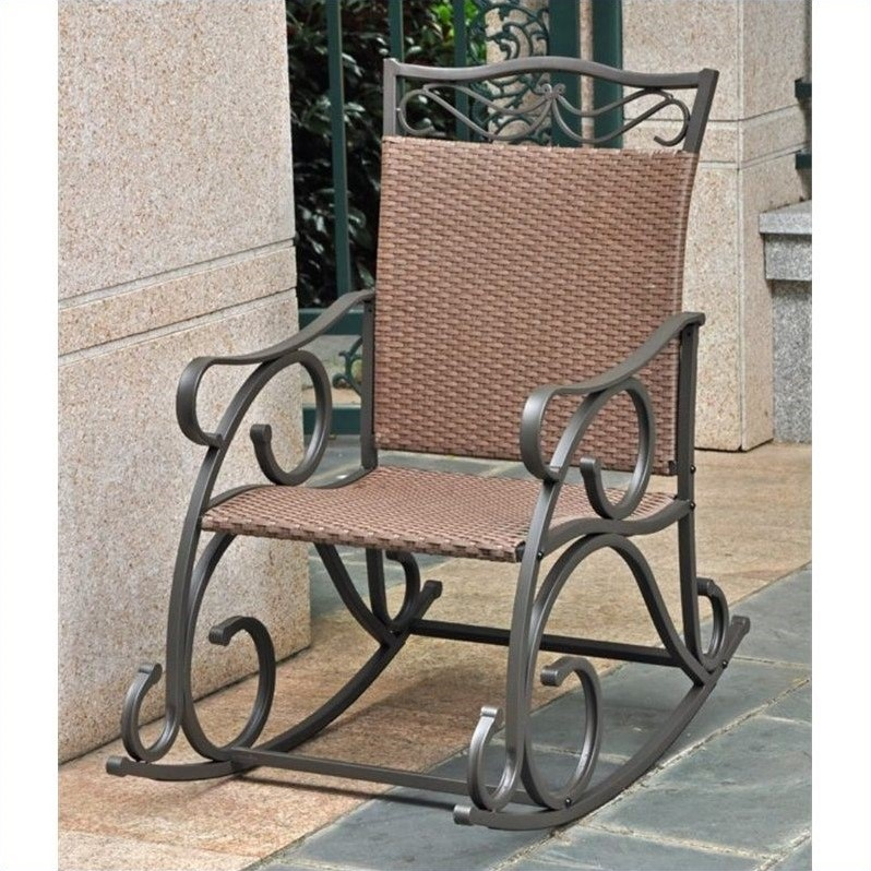 Pemberly Row Resin Patio Rocker in Antique Brown