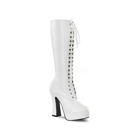 ELE2020/W/PU Pleaser Platforms (Exotic Dancing) Knee High Boots WHITE Size: 11