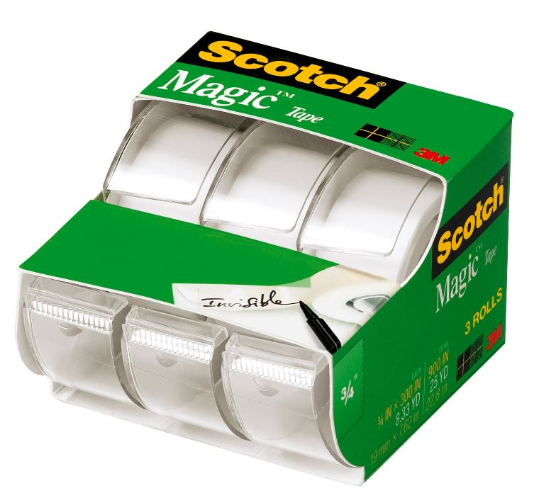 Scotch Magic Tape Dispenser 3 Pack, 3/4in. X 300in. per Dispenser, Clear