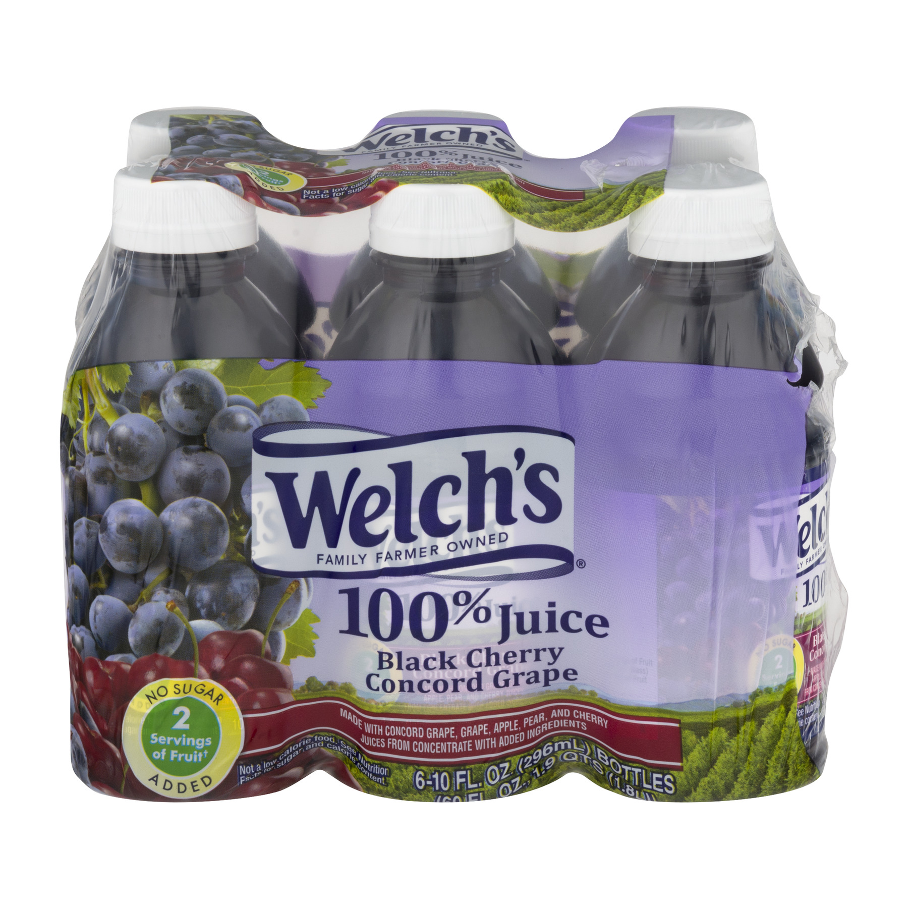 Welch's 100% Juice, Black Cherry Concord Grape, 10 Fl Oz, 6 Count