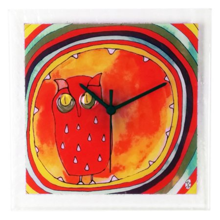 River City Clocks Square Glass Wall Clock with Owl - 10.25W x 10.25H in. ()