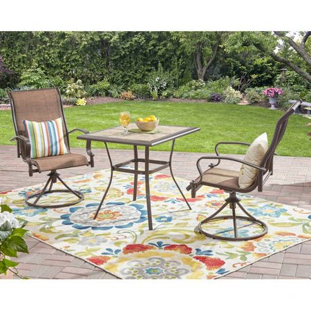 Awe Inspiring Mainstays 3 Piece Regular Swivel Bistro Set Caraccident5 Cool Chair Designs And Ideas Caraccident5Info