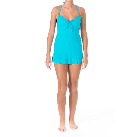 Mainstream Womens Marbled Halter Swimdress