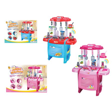 KIDS KITCHEN JUMBO KITCHEN PLAY SET W/LIGHT & SOUND(COLOR MAY VARY)