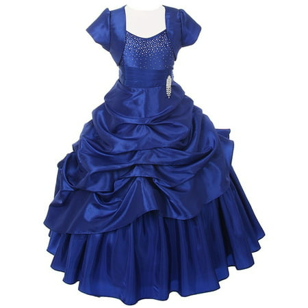 Chic Baby Royal Blue Layered Bolero Pageant Dress Set Girl 4-16 - Blue Girls Dress