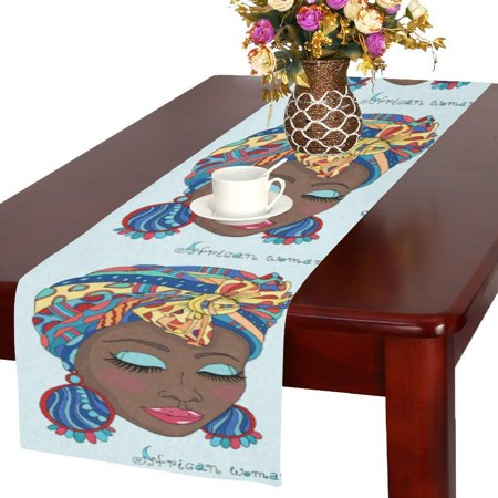 MYPOP New A Beautiful African Girl in a Scarf Drape Cotton Linen Table Runner 16x72 inches
