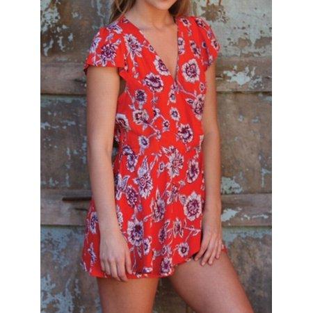 16661257d820 Angie NEW Red Womens Size Medium M Floral Print Surplice Neck Romper -  Walmart.com