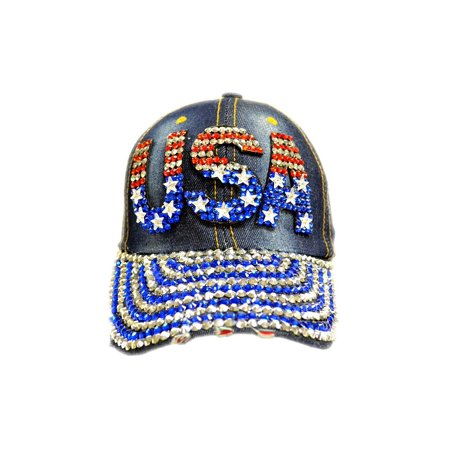 Rhinestone Jeweled USA Design Logo Denim Adjustable Baseball Cap
