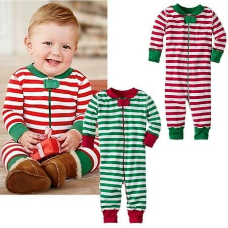 Fancy Kids Wear (Xmas Baby Boys Girls Christmas Stripe Cotton Romper Sleepwear Pajamas)