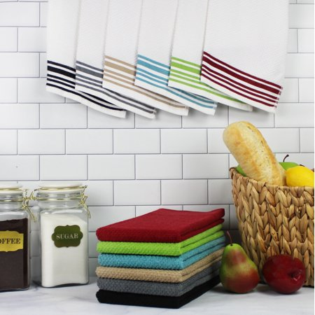 Mainstays (12) Pack Terry Kitchen Towel Set in Solid and Stripes - 100% Cotton - 16