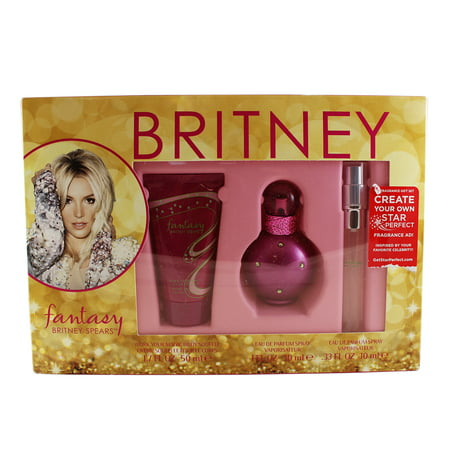 Fantasy 3 Pc. Gift Set ( Eau De Parfum Spray 1.0 Oz & 0.33 Oz + Work Your Magic Body Souffle 1.7 Oz ) for Women by Britney Spears ()