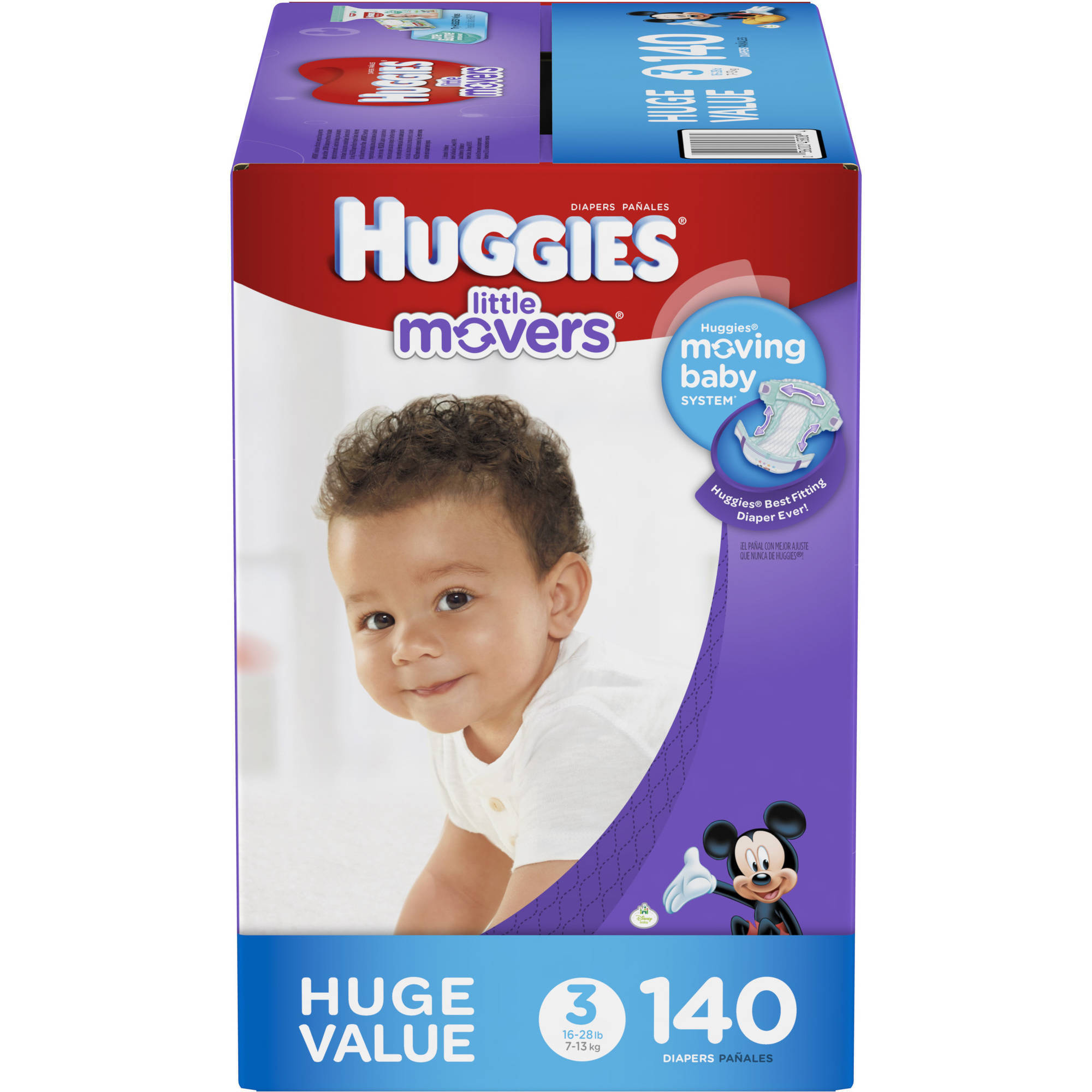 HUGGIES Little Movers Diapers, Huge Pack (Choose Your Size)