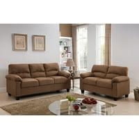 "Jena 2 Piece Brown Upholstered Microfiber Transitional Stationary Living Room Set (55.5"" Loveseat, 74"" Sofa)"