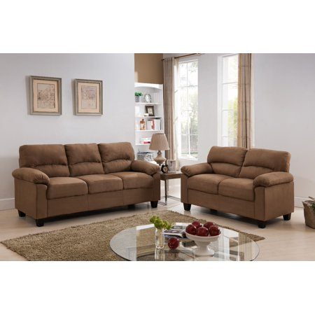 Jena 2 Piece Brown Upholstered Microfiber Transitional Stationary Living Room Set (55.5