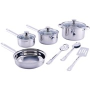 Mainstays Stainless Steel 10 Piece Cookware Set, with Kitchen Tools