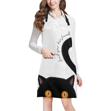 ASHLEIGH Cute Black cat Find Your Best Friend Unisex Adjustable Bib Apron with Pockets for Women Men Girls Chef for Cooking Baking Gardening