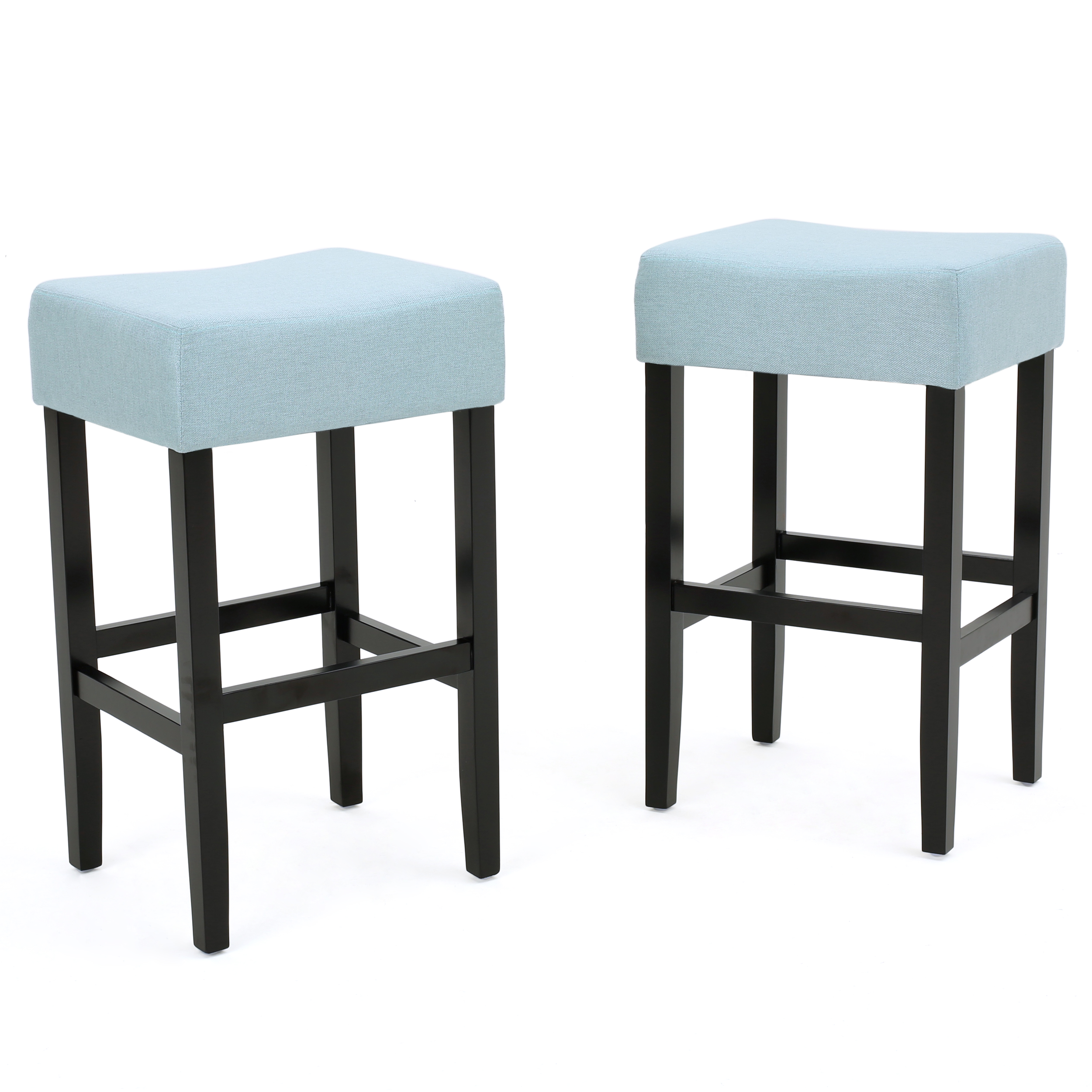 Awesome Lenando Fabric Backless Counter Stool Set Of 2 Light Blue Pabps2019 Chair Design Images Pabps2019Com