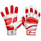 Shock Doctor Cutters Men's Power Control Grip Batting Gloves, White/Red Adult XL