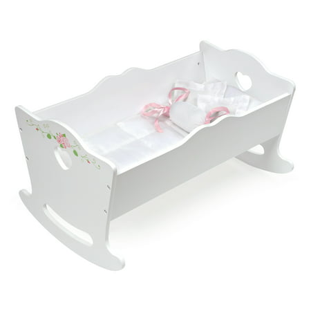 "Badger Basket Doll Cradle with Bedding and Free Personalization Kit - White Rose - Fits American Girl, My Life As & Most 18"" Dolls"