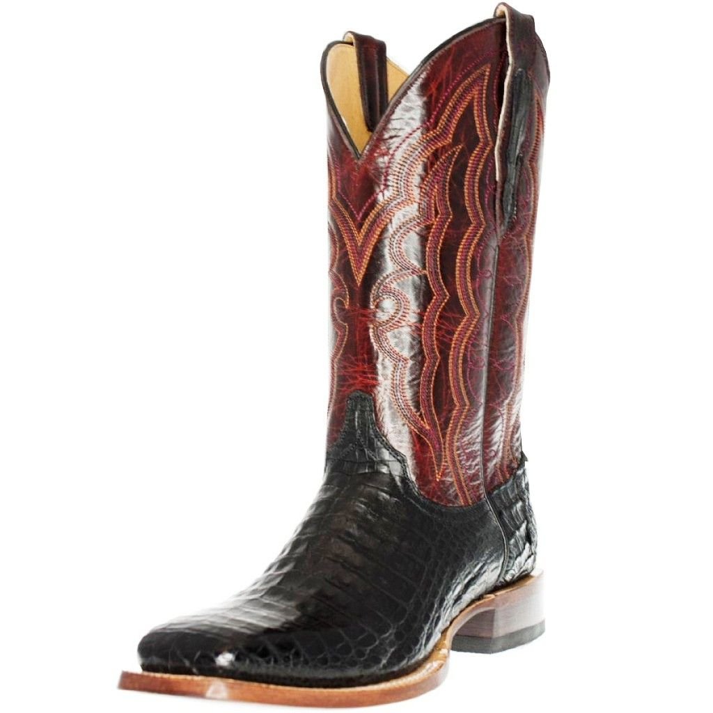Cinch Western Boots Mens Cowboy Caiman Belly Square Black CFM559