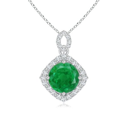 Mother's Day Jewelry - Vintage Inspired Round Emerald Pendant with Diamond Halo in 14K White & Rose Gold (7mm Emerald) - SP1593ED-WRG-AA-7 ()